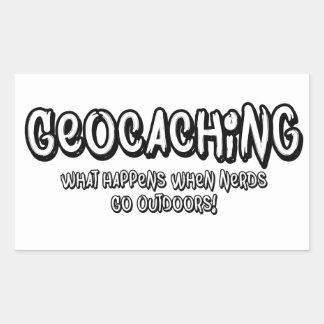 Geocaching, qué sucede cuando van los empollones pegatina rectangular