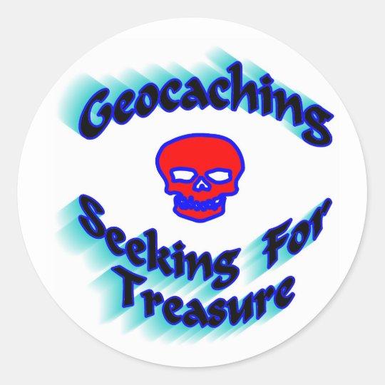 Geocaching Seeking For Treasure Classic Round Sticker