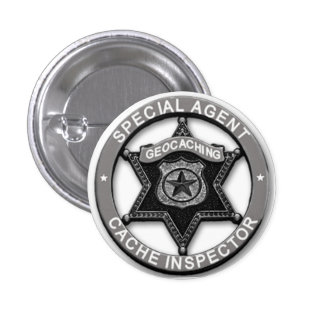 Geocaching *Special Agent* Cache Inspector Badge Pinback Button