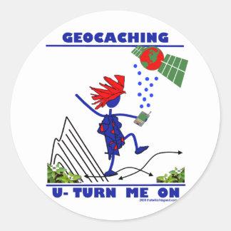 Geocaching U me gira Pegatina Redonda