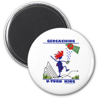 Geocaching U Turn King 2 Inch Round Magnet
