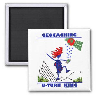 Geocaching U Turn King 2 Inch Square Magnet