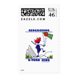 Geocaching U Turn King Postage Stamp
