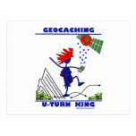 Geocaching U Turn King Postcard
