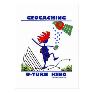 Geocaching U Turn King Post Card