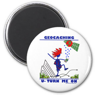Geocaching U Turn Me On 2 Inch Round Magnet