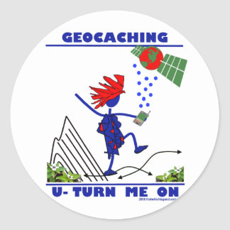 Geocaching U Turn Me On Classic Round Sticker