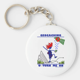 Geocaching U Turn Me On Basic Round Button Keychain