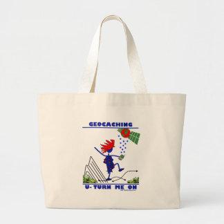 Geocaching U Turn Me On Large Tote Bag