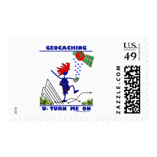 Geocaching U Turn Me On Postage Stamps
