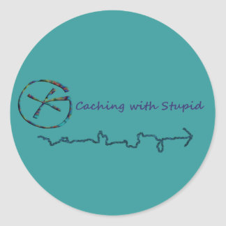 Geocaching With Stupid Classic Round Sticker