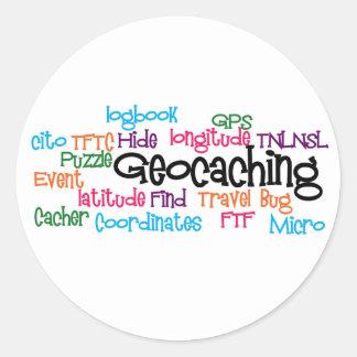 Geocaching Word Collage Classic Round Sticker