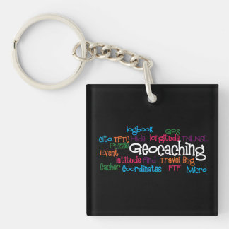 Geocaching Word Collage Keychain