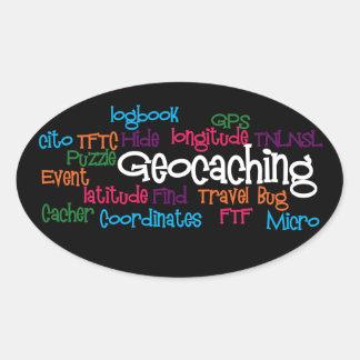 Geocaching Word Collage Oval Sticker