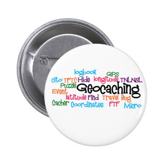 Geocaching Word Collage Pinback Button