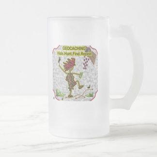 Geocachnig Hide Hunt Find Frosted Glass Beer Mug