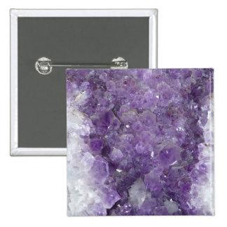 Geode Amethyst - piedra preciosa cristalina violet Pin Cuadrado