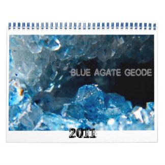 Geode azul INTERIOR de la ágata, 2011 Calendario