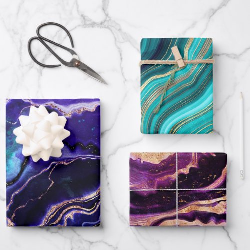 Geode Deep Blue Purple Rose Gold Green Pink Agate Wrapping Paper Sheets