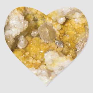 Geode Half with White and Yellow Crystals Heart Sticker