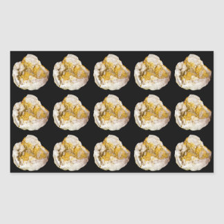 Geode Halves with White and Yellow Crystals Rectangular Sticker