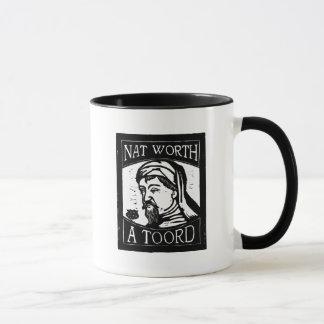 """Geoffrey Chaucer """"Nat Worth a Toord"""" Woodcut Mug"""