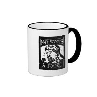 """Geoffrey Chaucer """"Nat Worth a Toord"""" Woodcut Ringer Mug"""