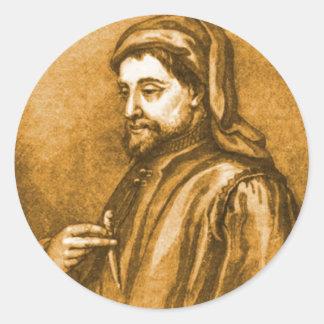 Geoffrey Chaucer Round Sticker