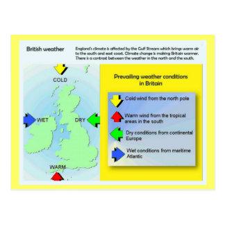 Geografía, ciencia, tiempo británico tarjetas postales