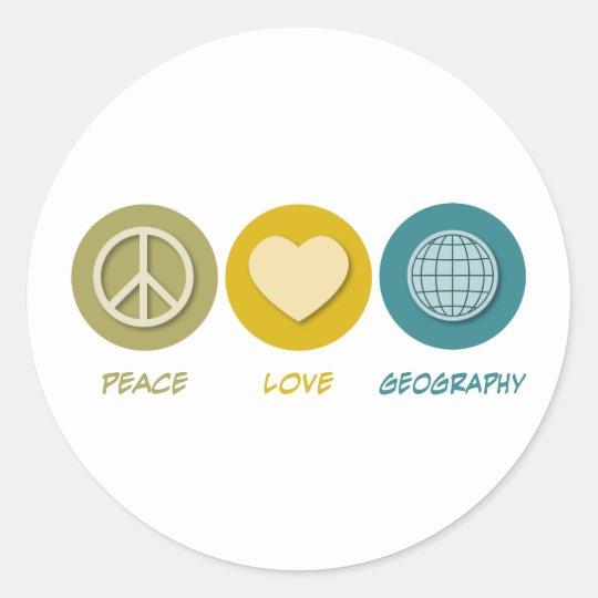 Geografía del amor de la paz pegatina redonda