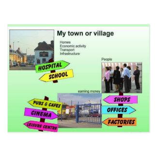 Geografía, estudios sociales, mi ciudad o pueblo tarjeta postal
