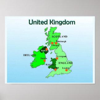 Geografía, estudios sociales, Reino Unido, mapa Póster