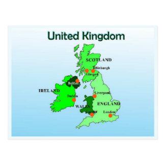 Geografía, estudios sociales, Reino Unido, mapa Tarjetas Postales