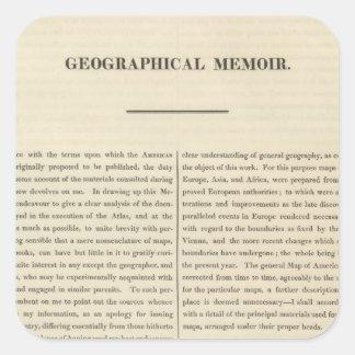 Geographical Memoir 4 Square Sticker