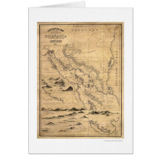 Geographical Nicaragua Map 1855 Greeting Card