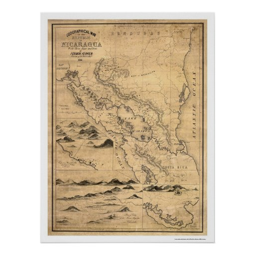 Geographical Nicaragua Map 1855 Posters