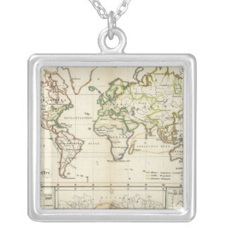 Geographical spread of the human race silver plated necklace