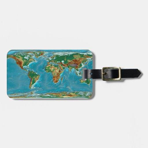 Geographical World Map Travel Bag Tag