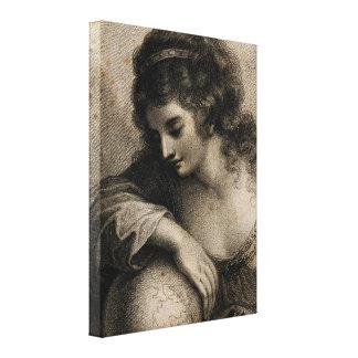 Geography Female Portrait Globe Vintage Engraving Canvas Print