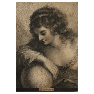 Geography Female Portrait Globe Vintage Engraving Wood Poster