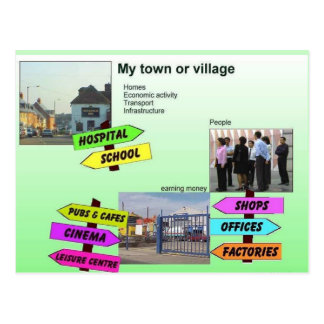 Geography, Social Studies, My town or village Postcard
