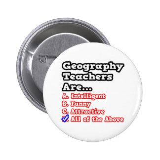 Geography Teacher Quiz...Joke Pinback Button