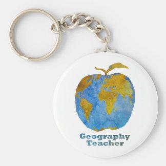 Geography Teacher's Apple Keychain