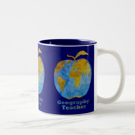 Geography Teacher's Apple Two-Tone Coffee Mug