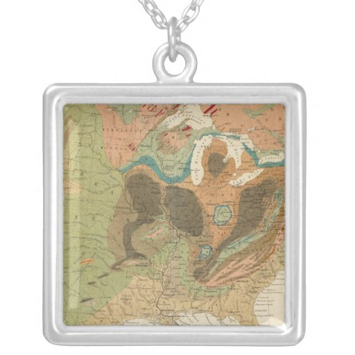 Geol map US Square Pendant Necklace