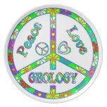 Geología del signo de la paz plato para fiesta