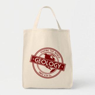 Geología que forma el logotipo del mundo bolsa tela para la compra