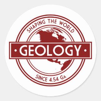 Geología que forma el logotipo del mundo pegatina redonda