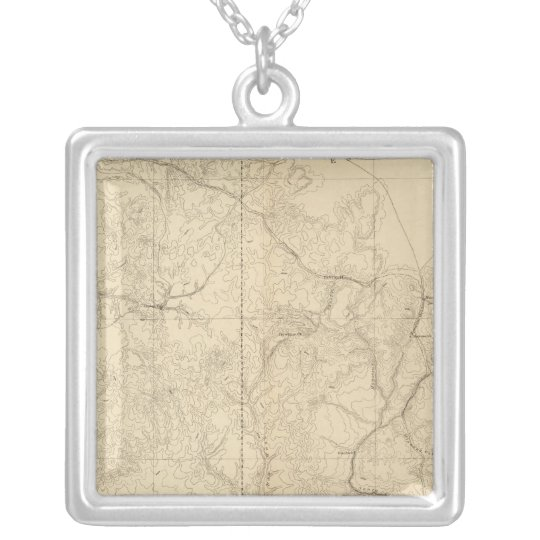 Geologic Map Showing The South Western Portion Silver Plated Necklace