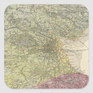 Geological map Dublin Square Sticker